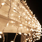 150 Icicle String Lights Indoor Outdoor Christmas Icicle Lights White Wire 8.5ft