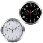 Silent Non-ticking Quartz Wall Clock With Thermometer And Hygrometer Meter 1PC