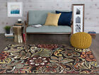Brown Flowers Paisley Abstract Borderless Transitional Area Rug Floral DCO1024