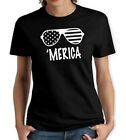MERICA BLACK WOMENS T SHIRT TRENDING FUNNY AMERICA FLAG PATRIOTIC GLASSES