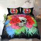 Splashed Paint Skull Bedclothes Bedding Set Gothic Home Textile Duvet Cover