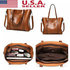 Women Oil Wax Leather Tote Messenger Handbag Large Handbag Soft Shoulder Bag image