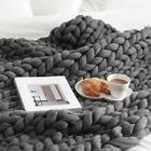 100x120cm Warmth Hand Chunky Knitted Blanket Thick Wool Bulky Knitting Throw image