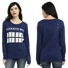 new Doctor Who TARDIS distressed sweater pullover top licensed BBC M MSRP $48.90