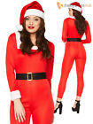 Ladies Miss Santa Jumpsuit Candy Cane Christmas Fancy Dress Outfit Womens Xmas