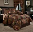 Chezmoi Collection 9-Piece Floral Jacquard Patchwork Comforter or Curtain Set image