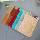 3pc Bathroom Set Rug Contour Mat Toilet Lid Cover Plain Solid Soft Bathmats