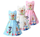 Внешний вид - Girls Skater Dress Kids Frozen Anna Elsa Print Casual Party Birthday Dresses L19