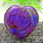 Solid 925 Sterling Silver Purple Copper Turquoise Heart jewelry Ring Size Choose