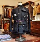 Men Oil Wax Cotton Down Lined Motor Punk Navy Jacket Vintage Military Army Coat