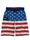 Boys US Flag Stars & Stripes Patriotic Surf Shorts Swim Trunks Board Shorts