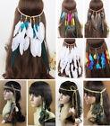 Boho Feather Headband Headpiece Leather Hair Rope Carnival Party Clearance Sale