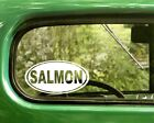 2 SALMON FISH DECALs Oval Stickers For Car Window Truck Bumper Laptop Jeep RV