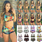 Womens Floral Bikini Set Crop Top High Waist Shorts Bathing Swimsuit Swimwear US