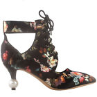 SHOW STORY Retro Floral Lace-Up Cut-Out Pointed Toe Exquisite Pearl Heel Dress