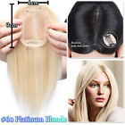 Clip in 100% Human Hair Topper Toupees Piece Straight Hairpiece Wigs Women P116