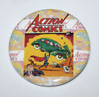 SUPERMAN ACTION COMICS MAGNET or PIN BUTTON Retro Comic Superhero Altered Art