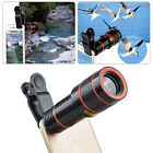 HD 12x/8x Optical Zoom Clip on Camera Lens Phone Telescope For Samsung Universal