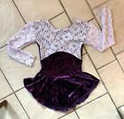 NEW Girls PURPLE VELVET Floral LILAC LACE Competition FIGURE ICE SKATING DRESS