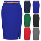 Ladies Womens Hip Wrap Bodycon Office Work Party Cocktail Pencil Skirt With Belt