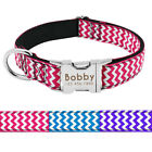 Nylon Dog Collar Personalised Metal Buckle Customized Engraved Pet ID Name S M L