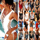 One Piece Bandage Railroad be dead and buried up Monokini Bikini Women's Swimwear Swimsuit Bathing Suit