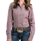 Cinch Women's Sage And Sangria Geometric Print Long Sleeve Western Shirt
