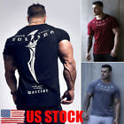 US Men Gym Slim Short Sleeve Fitness Muscle Tee Sport T-Shirt BodyBuilding Tops image