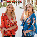 Womens Long Sleeve Casual V Neck Tops Loose Floral  Blouse Tee T Shirt US stock