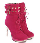 Womens Casual High Heels Stilettos Ankle Boots Lace Up Faux Suede Shoes Fashion