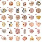 European Rose gold Charms Crystal heart Beads Pendant Fit 925 Sterling Bracelets image