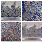 1 METRE COLOURFUL BLUE GOLD  LACE TRIMMING SEWING HABERDASHERY TRIM DRESSMAKING