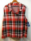 nwt chaps red white and black plaid pattern women s zip front jacket vest