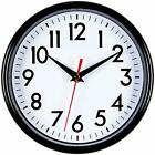 Bernhard Products-Black Wall Clock 8 Silent Non-Ticking Quality Quartz Battery