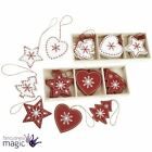 Heaven Sends Box Of 12 Red White Christmas Wooden Tree Decorations Nordic Scandi