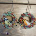 Gisela Graham Bird In Fruit Wreath Hanging Christmas Tree Ornament Decoration