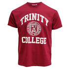Men T-Shirt Burgundy White Trinity College Seal Easy Care  machine washed
