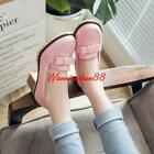 Womens Block Heel Slip On Casual Sweet Bowknot Loafer comfort Shoes
