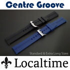 Localtime Silicone Rubber Centre Groove Watch Strap Normal & XL Lengths 20-24mm
