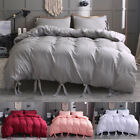 Luxury Solid Color Bandage Hotel Home Bedding Duvet Cover Set+Pillow Case Sham image