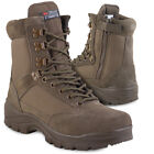 Men's Brown Tactical Military Army Combat Cadet Hiking Side Zip Boots Shoes 6-12