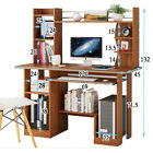 Computer Desk PC Table & Bookshelf Storage Shelf Keyboard Tray Home Office Study