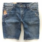 Silver Jeans Co Relaxed Fit Indigo Distressed Zac Denim Stretch Shorts 38