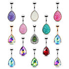 BodyJ4You Belly Button Ring Tear Drop Large Crystal 14G Heart Filigree Navel image
