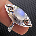 Natural Moonstone 925 Sterling Silver Solid Gemstone 2 Tone Choose Ring Size US