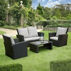 GSD Rattan Garden Furniture 4 Piece Patio Set Table Chairs Grey Black or Brown
