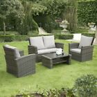 Gsd Rattan Garden Furniture 4 Piece Patio Set Table Chairs Grey Or Black