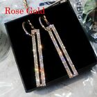 Fashion Geometric Crystal Zircon Women Stud Earrings Dangle Drop Wedding Jewelry