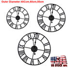 40/60/80cm Vintage Home Wall Electric Round Metal Skeleton Roman Numeral Clock