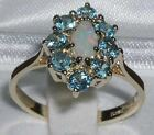Ladies Solid 18ct Gold Natural Opal & Blue Topaz Elegant English Cluster Ring
